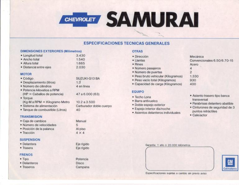 ficha técnica samurai